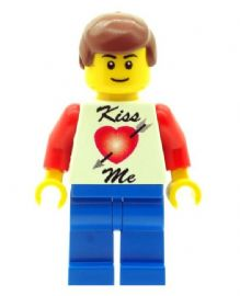 Boy with Kiss Me T-Shirt. Perfect for Valentines Day - Custom Designed Minifigure